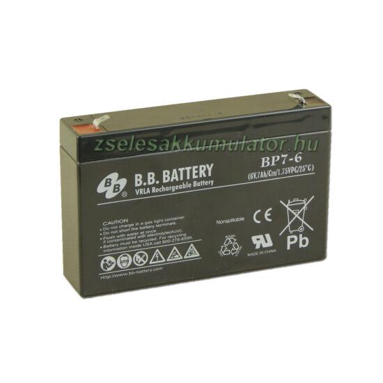 BB Battery 6V 7Ah Zselés akkumulátor T1